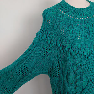 Vintage Sweaters - Vintage 90s Oversized Teal Pullover Sweater NWT D3